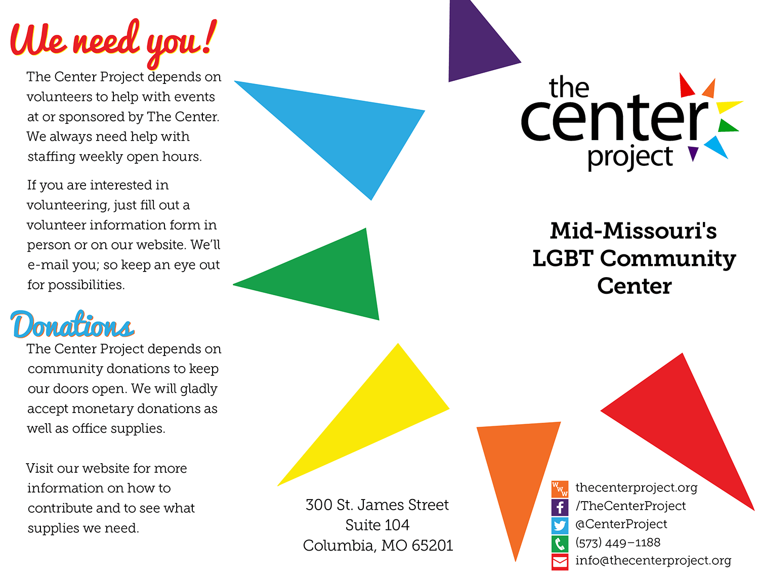 Brochure for an LGBT center in Columbia, Missouri