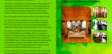 ECKOWOOD Flooring Brochure Copy