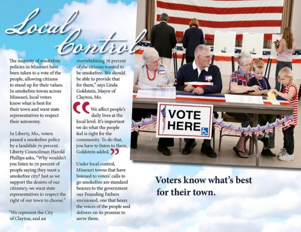 Tobacco Free Missouri Booklet: Local Control: Voters know what's best for their town.