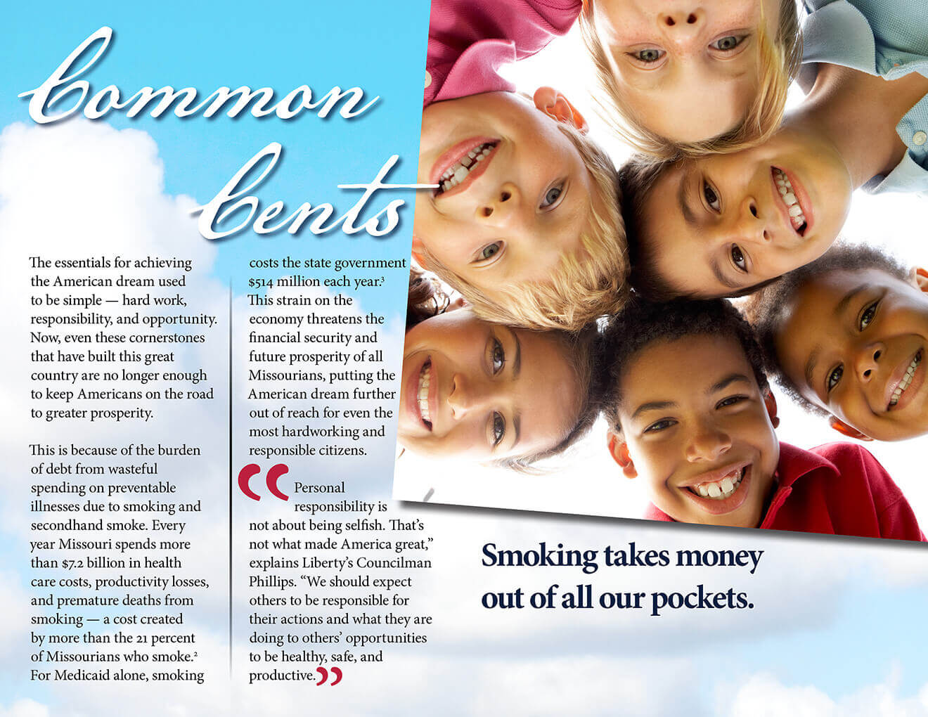 Tobacco Free Missouri Booklet: Common Cents: Smoking takes money out of all our pockets.