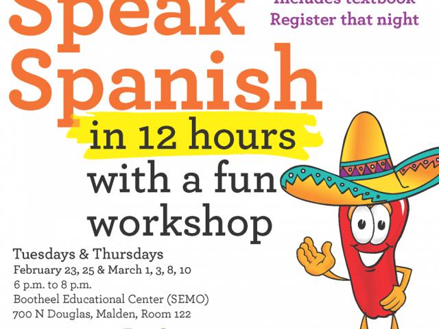 Flyer for Conversational Spanish Course in Malden, Missouri