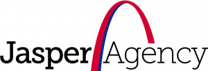 Jasper (Insurance) Agengy logo with a red and blue arch